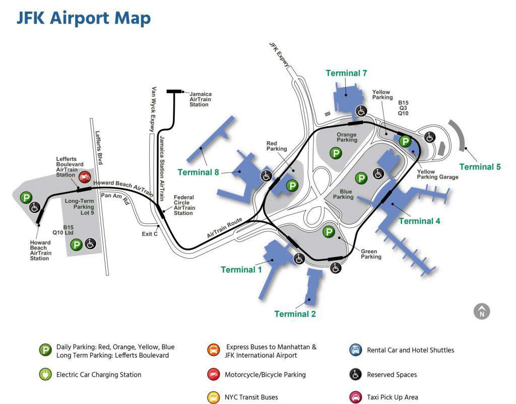 карта аэропорта jfk