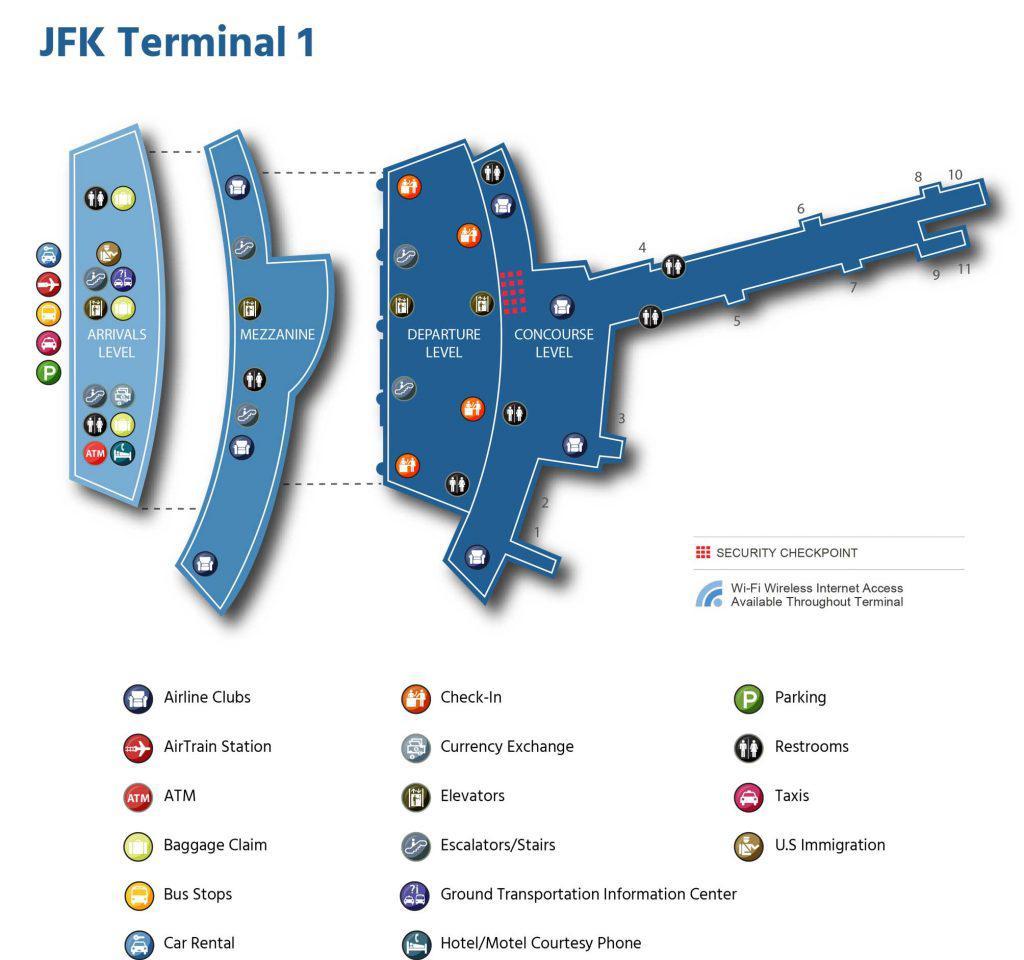 карта терминала 1 jfk