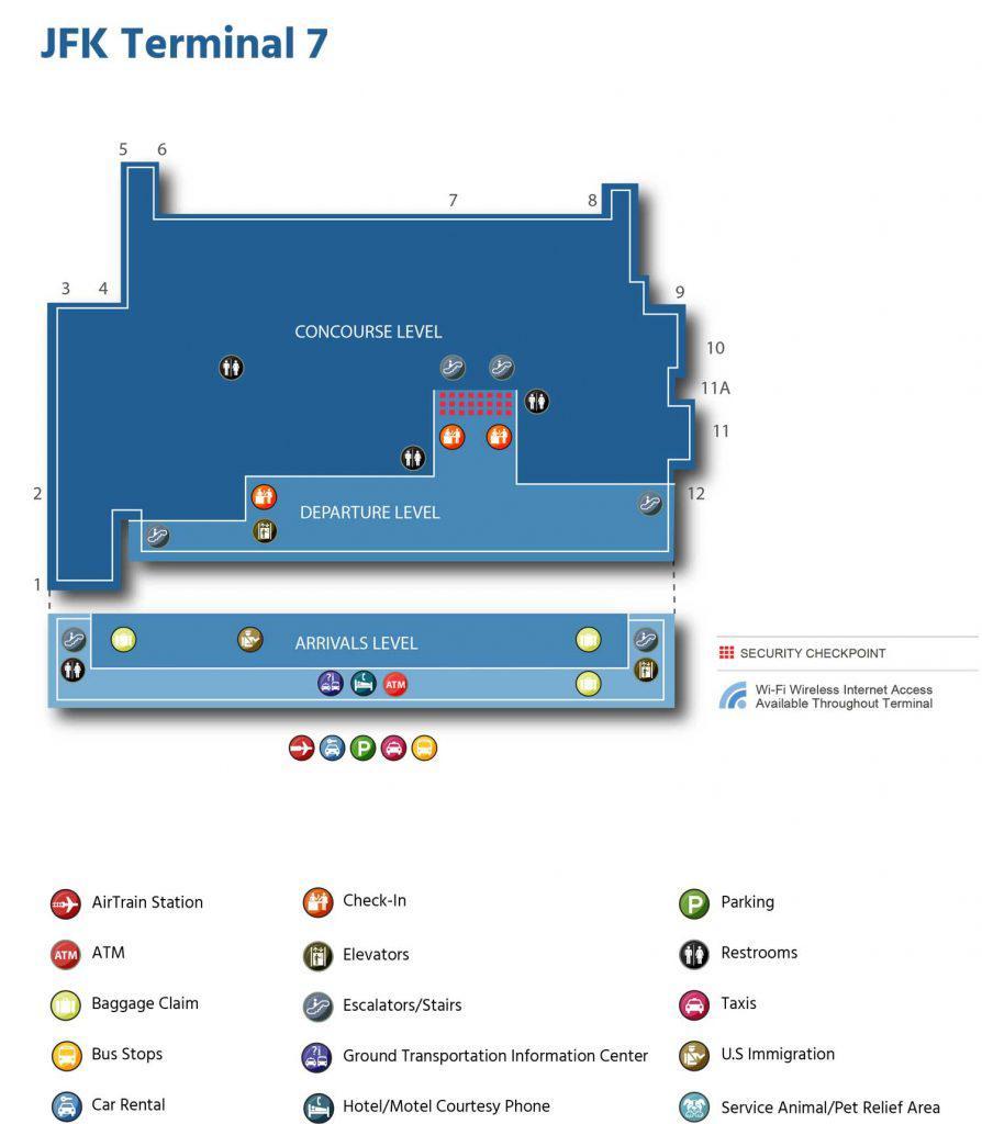 схема терминала 7 JFK