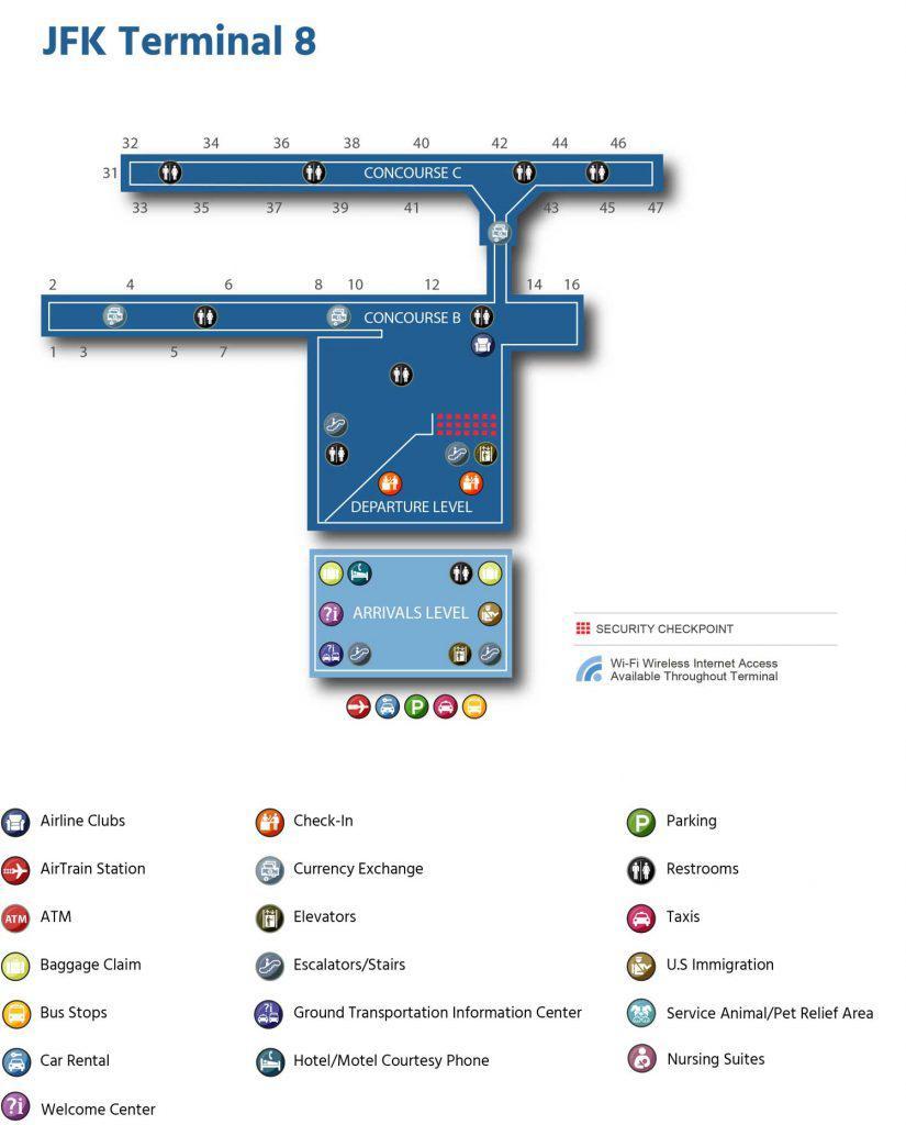 карта 8 термианала аэропорта нью-йорка
